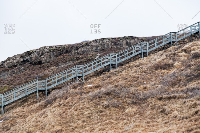 Wooden steps leading up a mountainside in Iceland