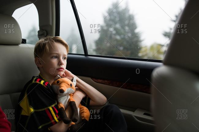 Boy with stuffed animal in car
