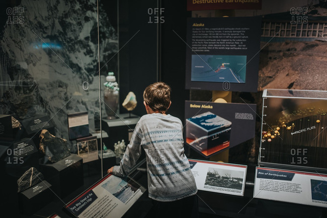 November 8, 2016: Child looking at geology display in museum