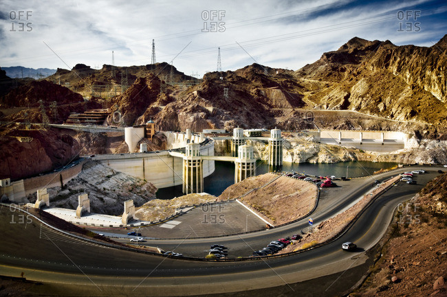 Landscape surrounding a hydroelectric dam.