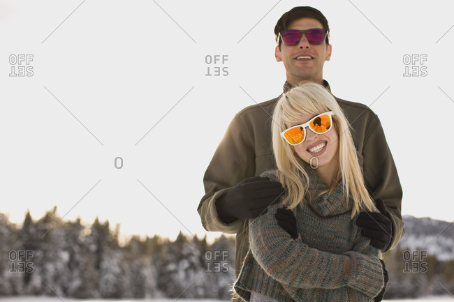 Young couple on a winter vacation.