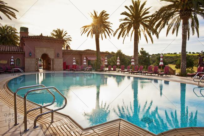 Swimming pool at a tourist resort.
