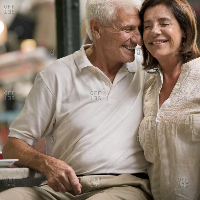 Smiling couple spending time together.