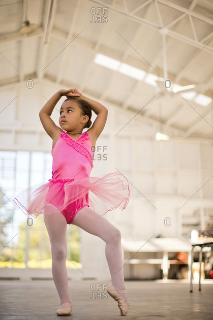 Young girl in a ballet class.