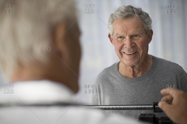 Senior man undergoing a medical exam.