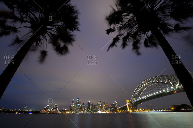 Sydney Harbor illuminated at night, Sydney Australia