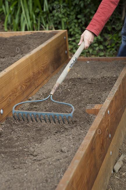 Preparing soil in garden beds