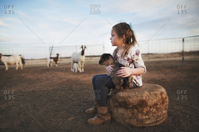 Girl in pasture holding goat