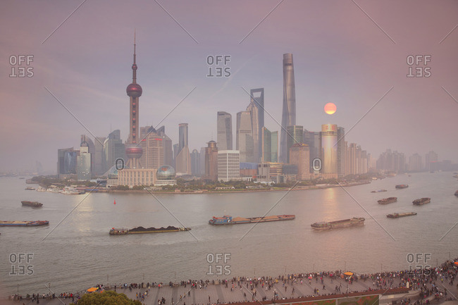 Shanghai, China - April 1, 2016: Pudong business district in fog