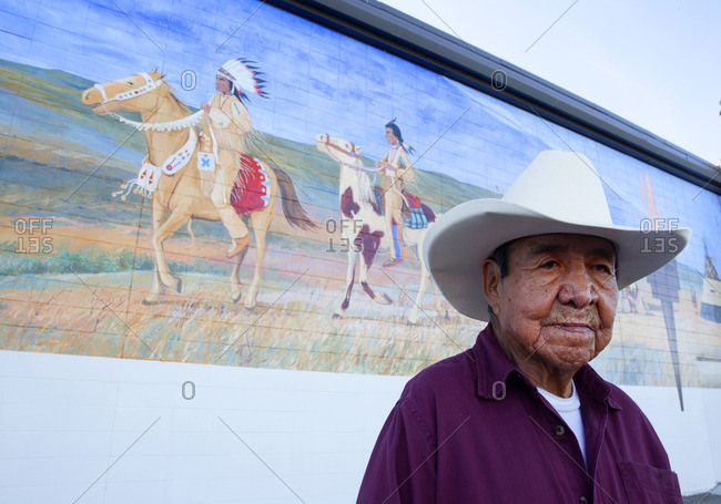 Alberta, Canada - September 10, 2015: First Nations man in cowboy hat