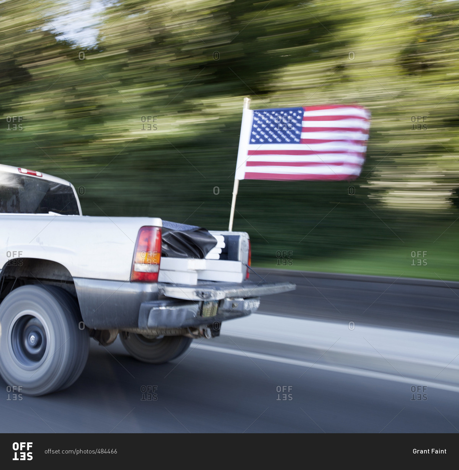 Speeding Pickup Truck With American Flag Stock Photo Offset
