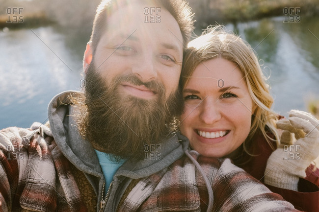 Couple in autumnal setting in selfie