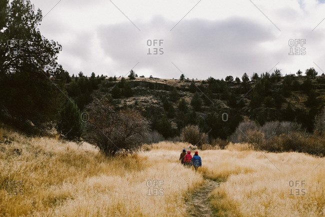 Three people on mountain trail in fall