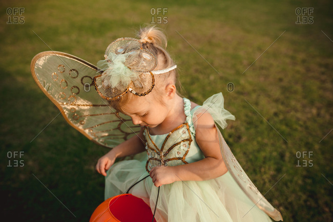 Little girl dressed as a fairy for Halloween
