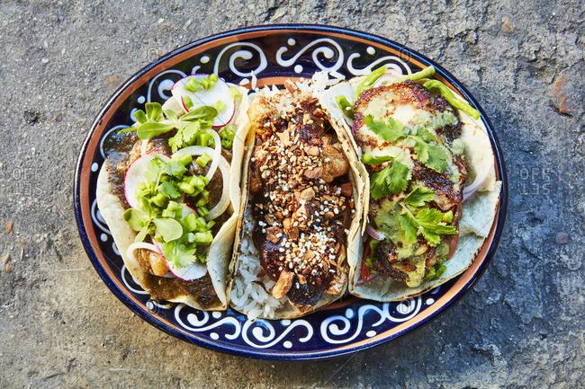 Cauliflower, nopal, and pork tacos