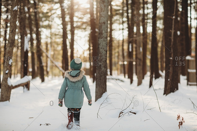 Rear view of a little girl walking in a snowy forest