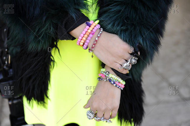 Fashionable girl wearing lots of accessories