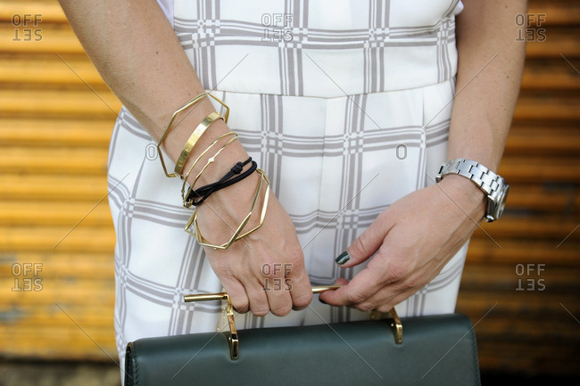 Fashionable woman wearing lots of accessories