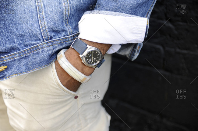 New York, NY - October 10, 2016: Man wearing a watch