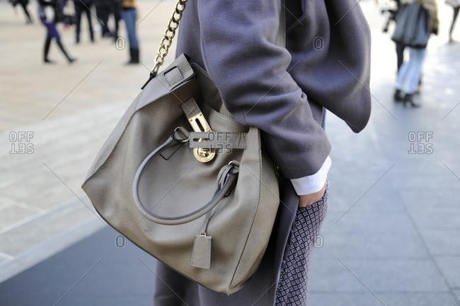 New York, NY - October 10, 2016: Woman wearing all grey