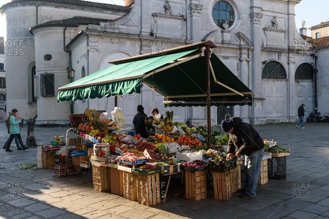 Venice, Italy - December 30, 2016: Market by Santa Maria Formosa church