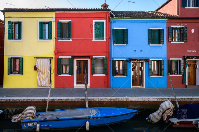 Venice, Italy - December 30, 2016: Houses along the canal