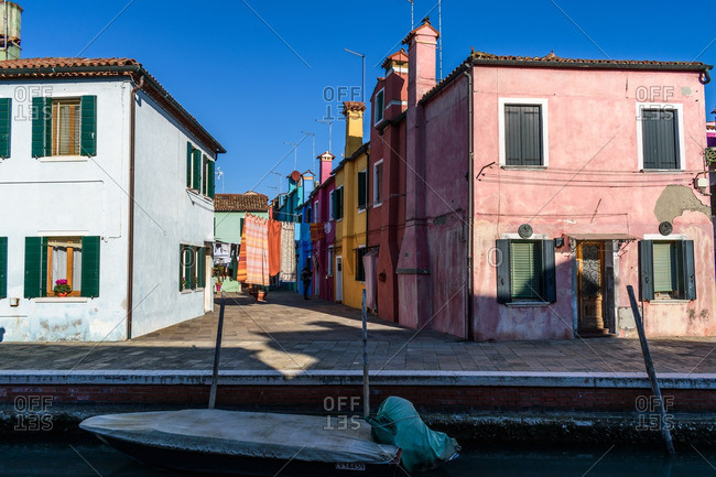 Venice, Italy - December 30, 2016: Laundry in a residential street