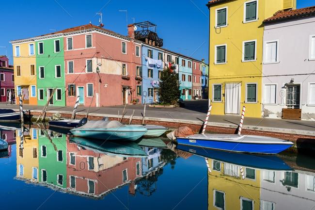Venice, Italy - December 30, 2016: Shore along residential canal