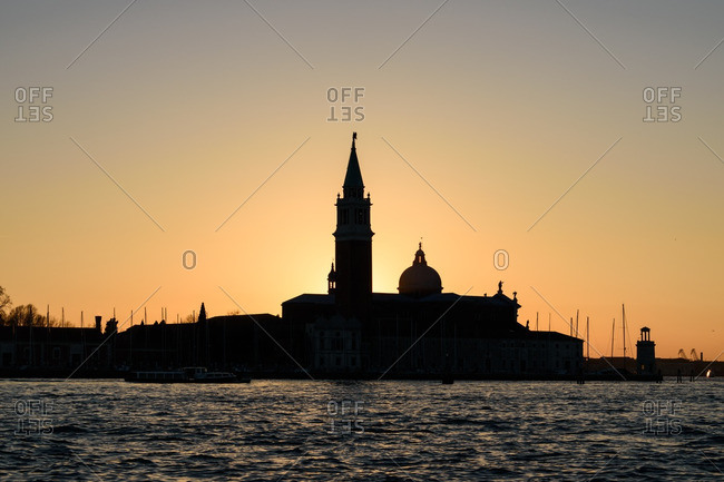 Church in silhouette in Venice, Italy