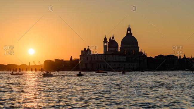 Church in golden sunset, Venice