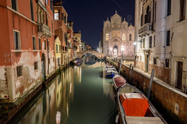 Venice, Italy - December 30, 2016: Night view of Grand Canal