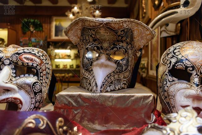Venice, Italy - December 31, 2016: Masks in window display