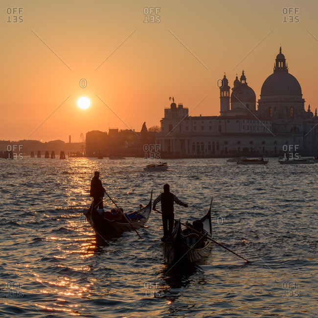 Venice, Italy - December 31, 2016: Sunset over Grand Canal scene