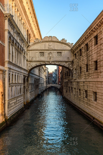 Canal along buildings in Venice
