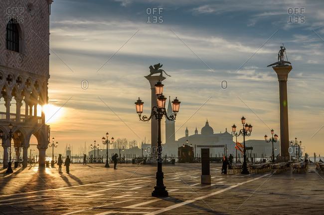 Venice, Italy - January 1, 2017: Sunlight through St. Mark's Square