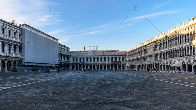 Venice, Italy - January 1, 2017: Piazzo San Marco in shadows