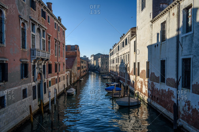 Venice, Italy - January 1, 2017: A canal with boats