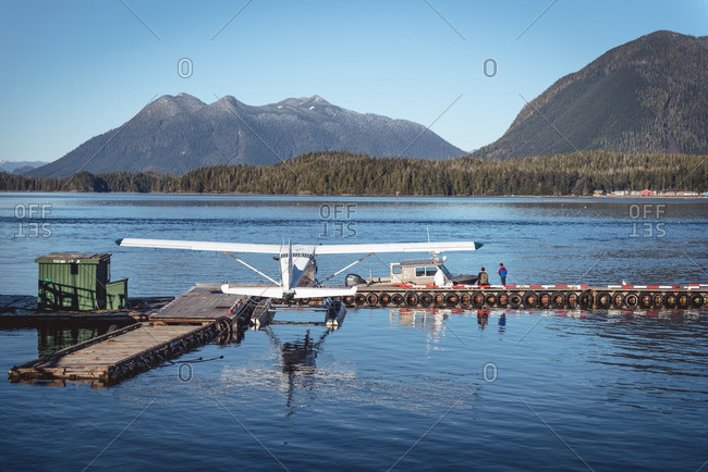 Vancouver Island, British Columbia - January 3, 2017: Seaplane at a rural dock