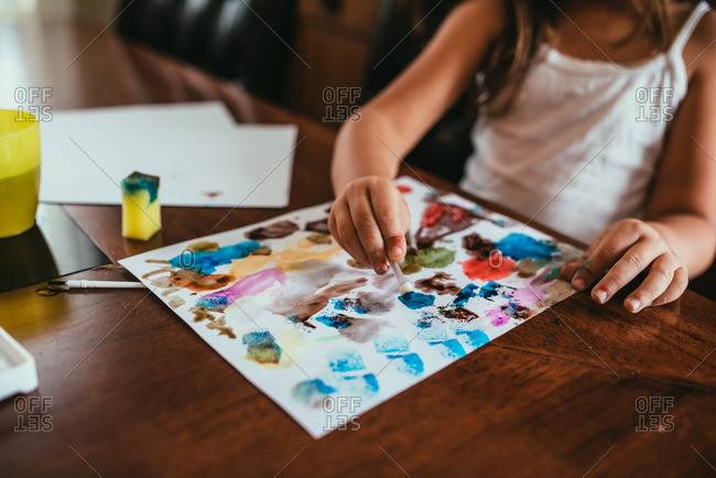Girl creating a watercolor painting