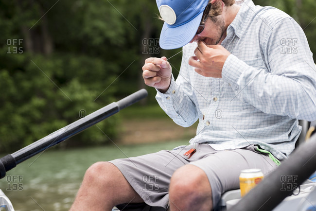 A Man Preparing For Fly Fishing In Guadalupe River, Texas