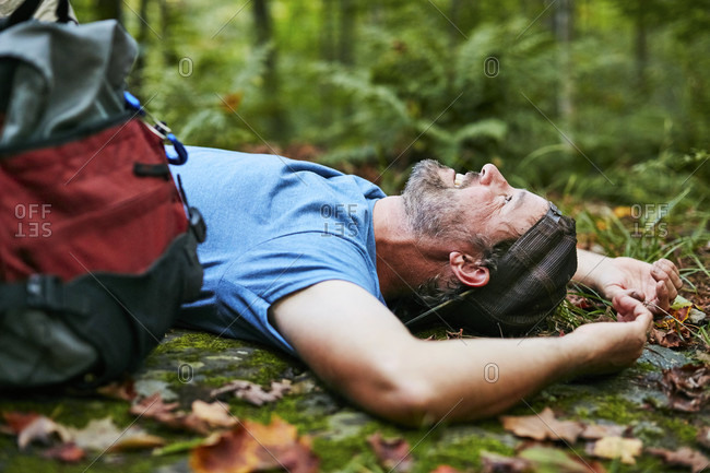A Man Rests While On A Hike Along The Appalachian Trail