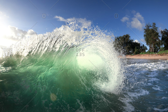 An Ocean Wave Approaching Shore On Oahu's East Side