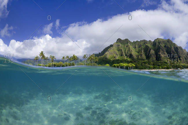 A Split Level Water View Of Kualoa Ridge On Oahu's East Side