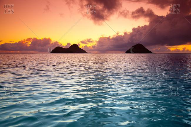 Tropical Lanikai Beach With Mokulua Islands In Kailua, Oahu, Hawaii
