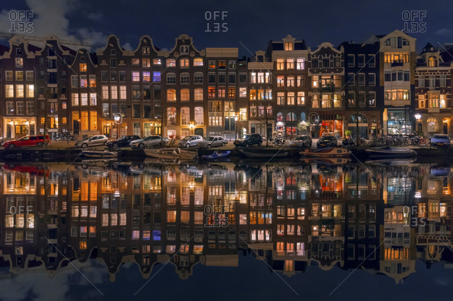 Amsterdam, Holland, Netherlands - January 5, 2017: Reflection Of Houses On Canal In Amsterdam