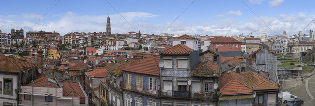 Oporto, Oporto, Portugal - January 5, 2017: Old Houses Of The Historic City Center Of Oporto, Portugal