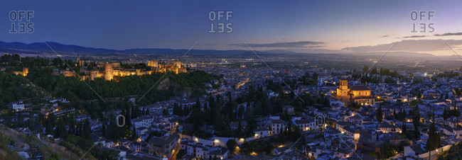 Illuminated View Of Alhambra To The Old Town Of Granada, Andalucia, Spain