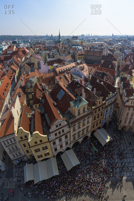 Prague, Prague,  Czech Republic - January 5, 2017: Aerial View Of The Old Town Of Prague, Czech Republic