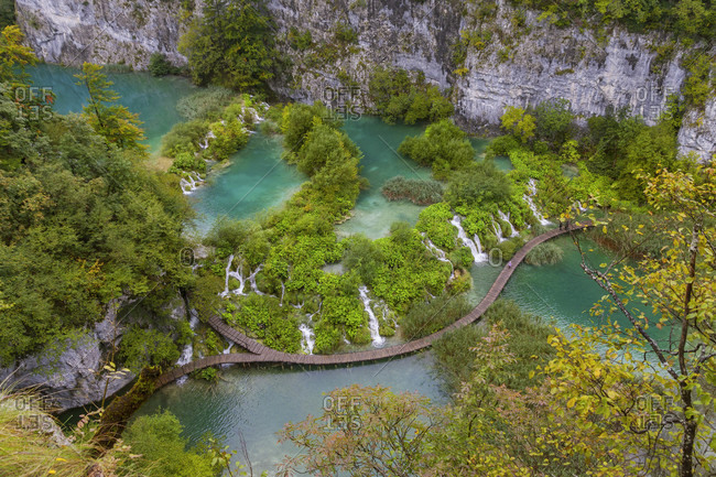 Elevated View Of Footbridges At The Plitvice Lakes