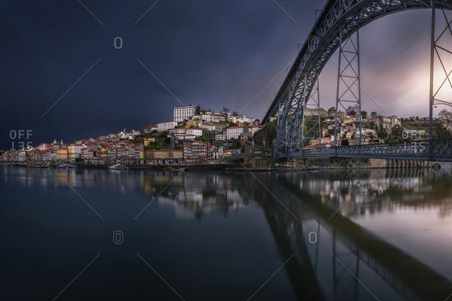 Dom Luis I Bridge Over Douro River In City